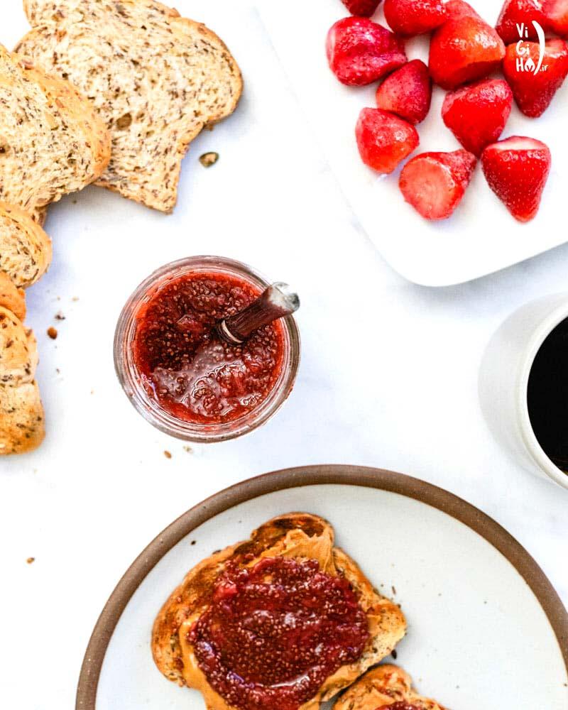 طرز تهیه مربای توت فرنگی بدون شکر