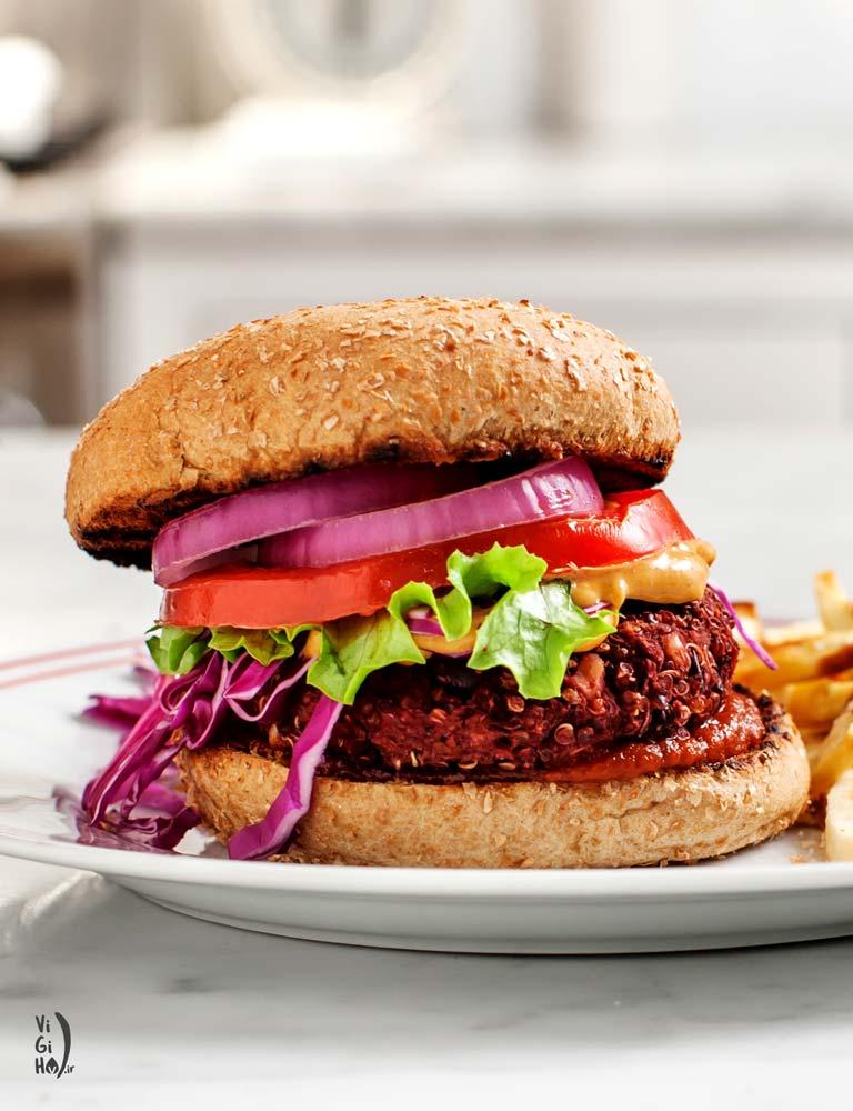 دستور پخت همبرگر گیاهی کینوا