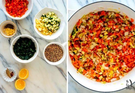 طرز پخت سوپ سبزیجات با کینوا