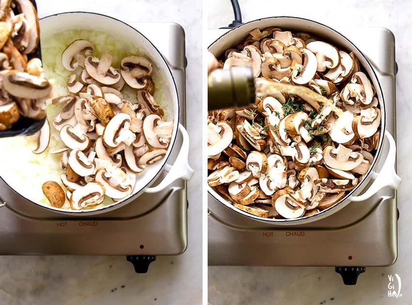 طرز تهیه سوپ قارچ و شیر وگان