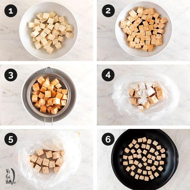 طرز پخت خوراک توفو وگان