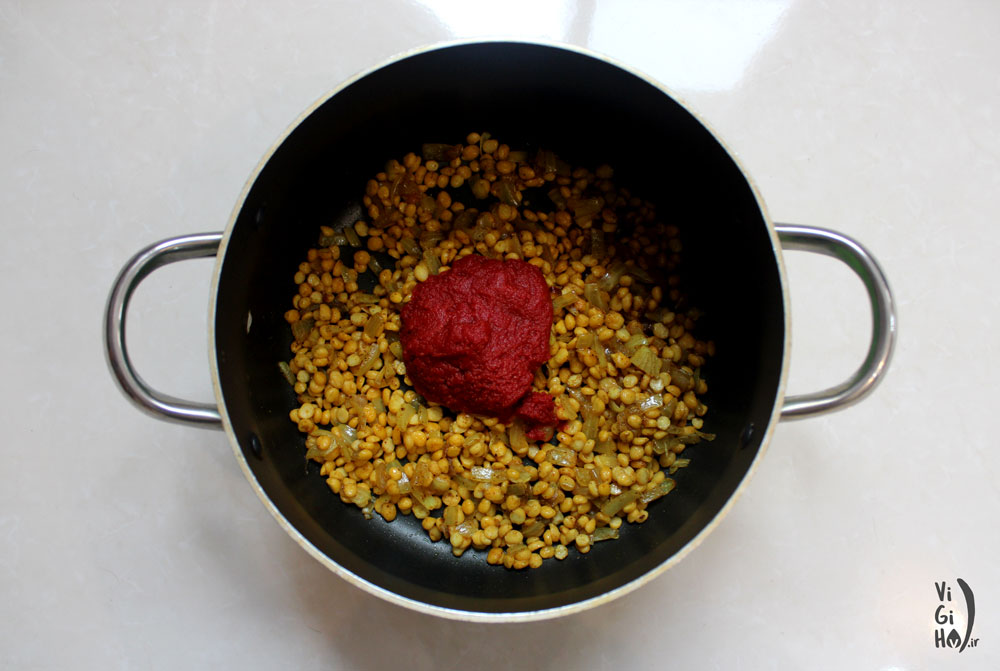 روش پخت خورش بامیه گیاهی با لپه و قارچ