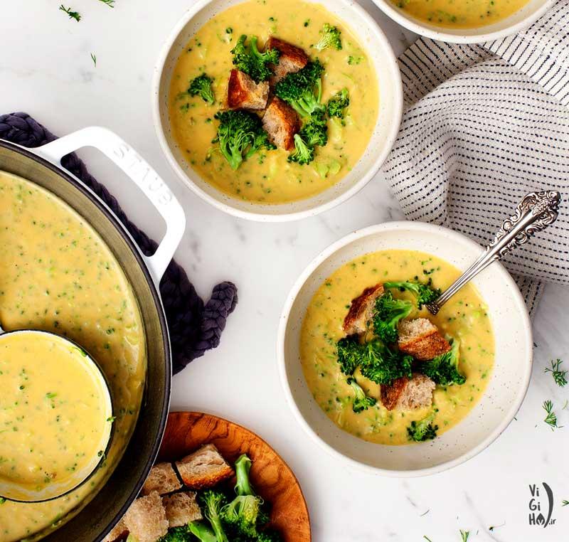 طرز تهیه سوپ کلم بروکلی وگان