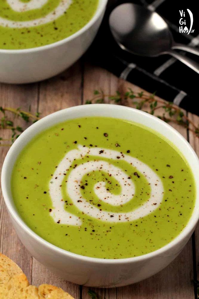 طرز پخت سوپ نخود فرنگی خامه ای وگان