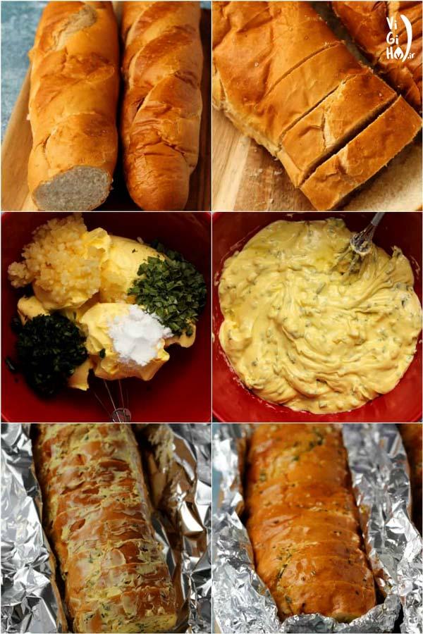 طرز تهیه نان سیر وگان با نان باگت