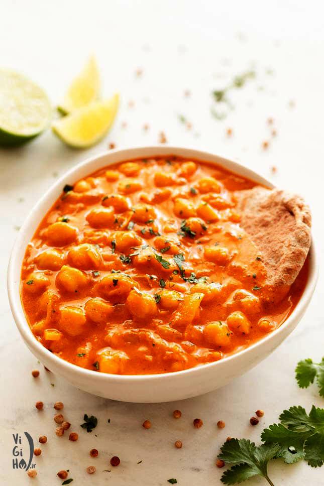 طرز پخت خوراک نخود هندی با کاری