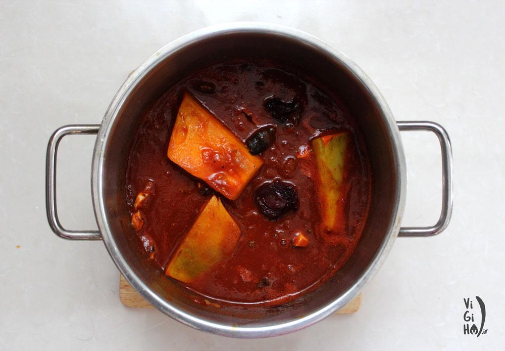 روش پخت خورش کدو حلوایی گیاهی