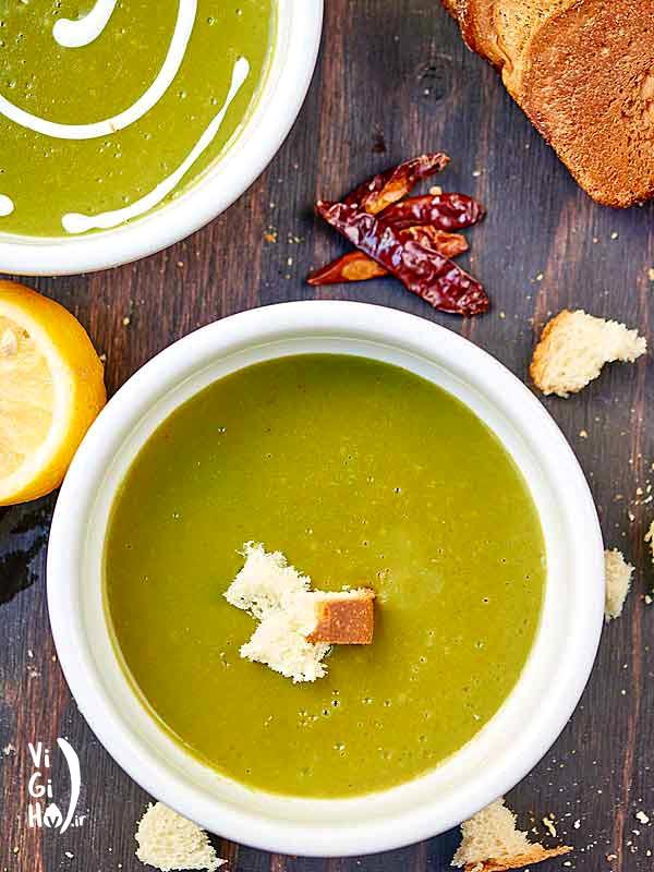 طرز پخت سوپ اسفناج وگان