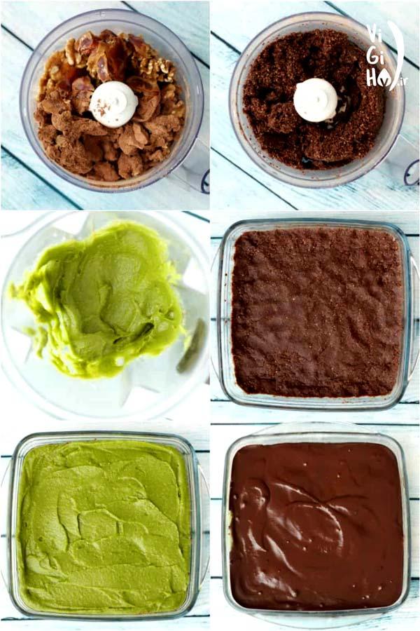 طرز تهیه شیرینی سه لایه نعنایی بدون فر