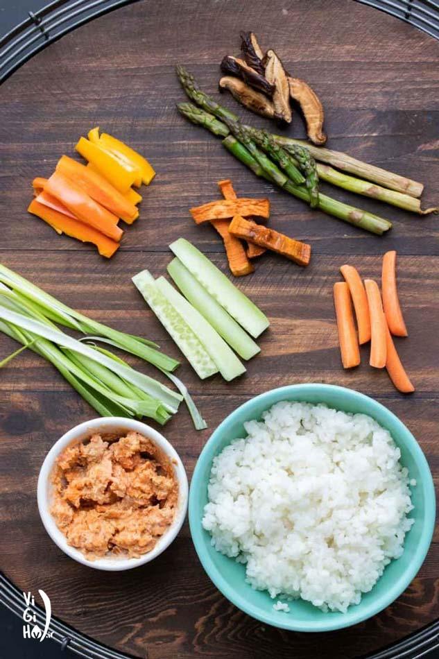 طرز درست کردن سوشی سبزیجات خوشمزه