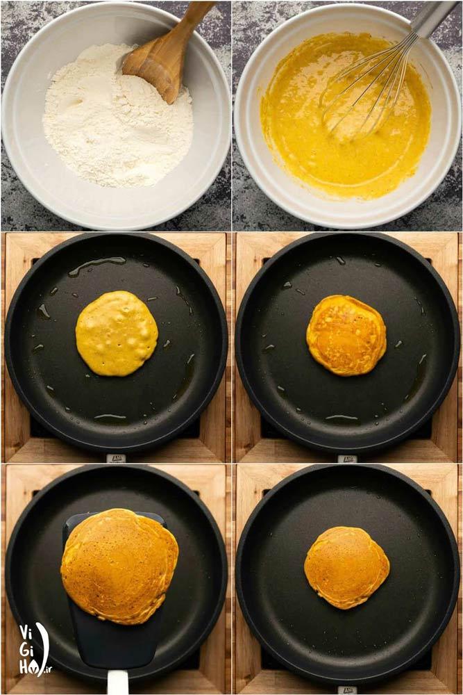 دستور پخت پنکیک کدو حلوایی وگان