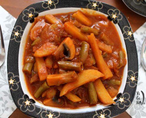 روش پخت خورش لوبیا سبز گیاهی